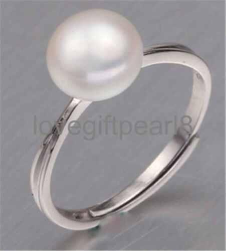 genuine natural 8-9mm freshwater Pearl 925 Sterling silver Adjustable ring