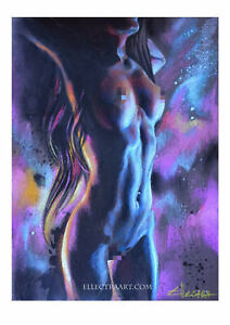 LIMITED-EDITION-PRINT-BY-ELLECTRA-EROTIC-OIL-SENSUAL-FEMALE-LESBIAN-INTEREST