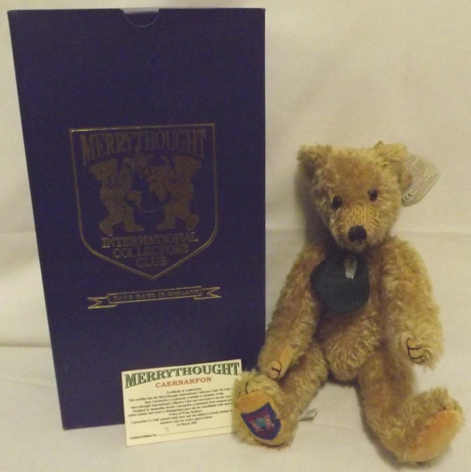 Boxed 17  Merrythought Mohair Teddy Bear 'Caernarfon' Collector's Club Ltd. Ed.