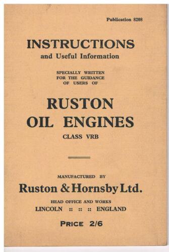 Ruston /& Hornsby VRB Vertical Aceite Motor libro de instrucciones