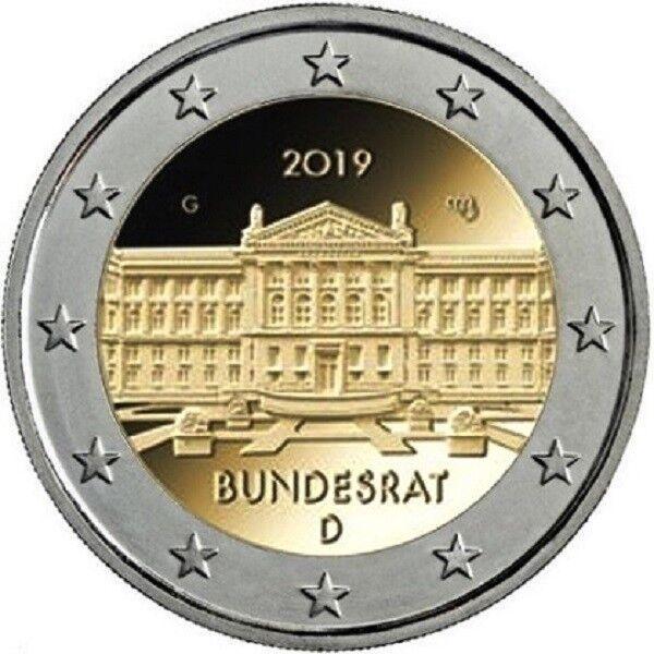 5 X 2 Euros Allemagne 2019 70e Anniversaire Bundesrat Nouveau