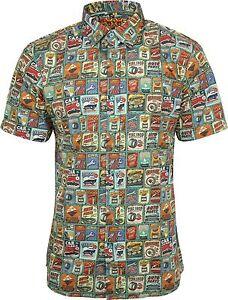 Run-amp-Fly-Mens-Vintage-Garage-Car-Print-Short-Sleeved-Shirt-Retro-Kitsch-50s-60s
