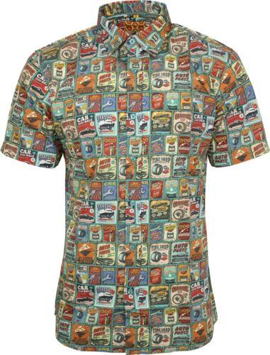 Run /& Fly Mens Vintage Garage Car Print Short Sleeved Shirt Retro Kitsch 50s 60s