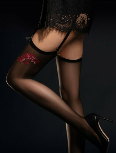 Fiore Suspender Stockings Piccante 20 Den with a Red Rose Pattern New Collection