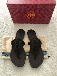 Tory-Burch-MILLER-Croco-Emboss-Brown-Soft-Leather-Sandal-Size-8-New