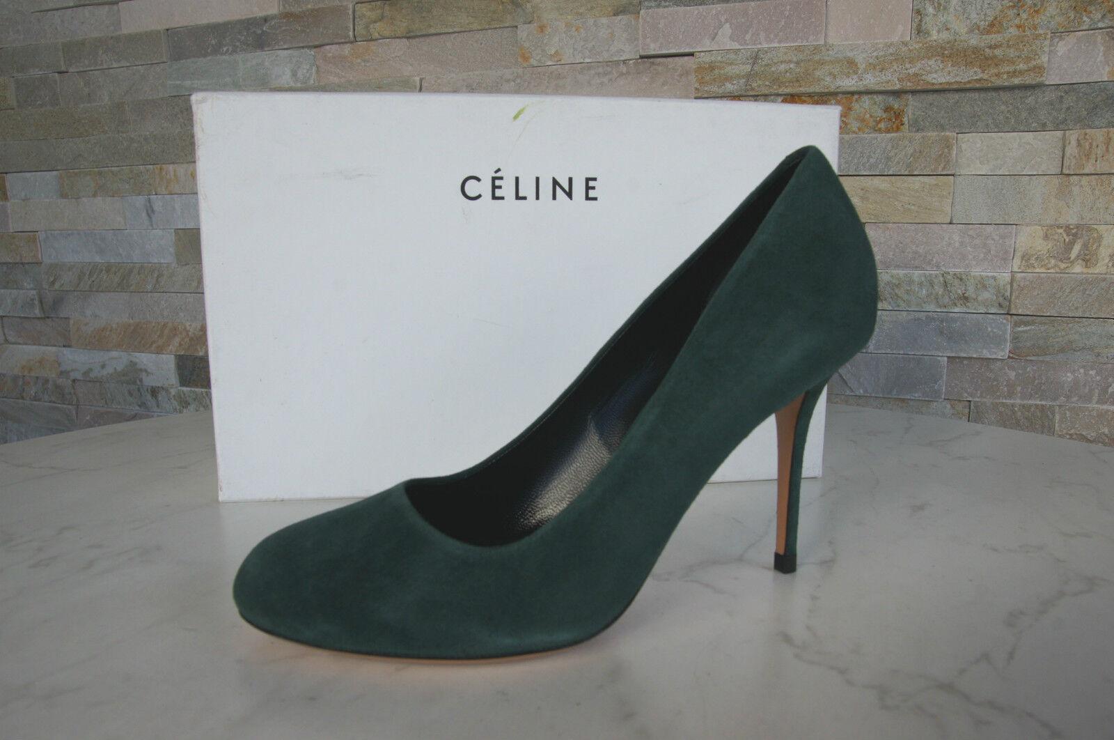 CELINE CÉLINE Paris Gr Gr Gr 36,5 Pumps Heels grün Leder Schuhe NEU ehem. f7bf5f