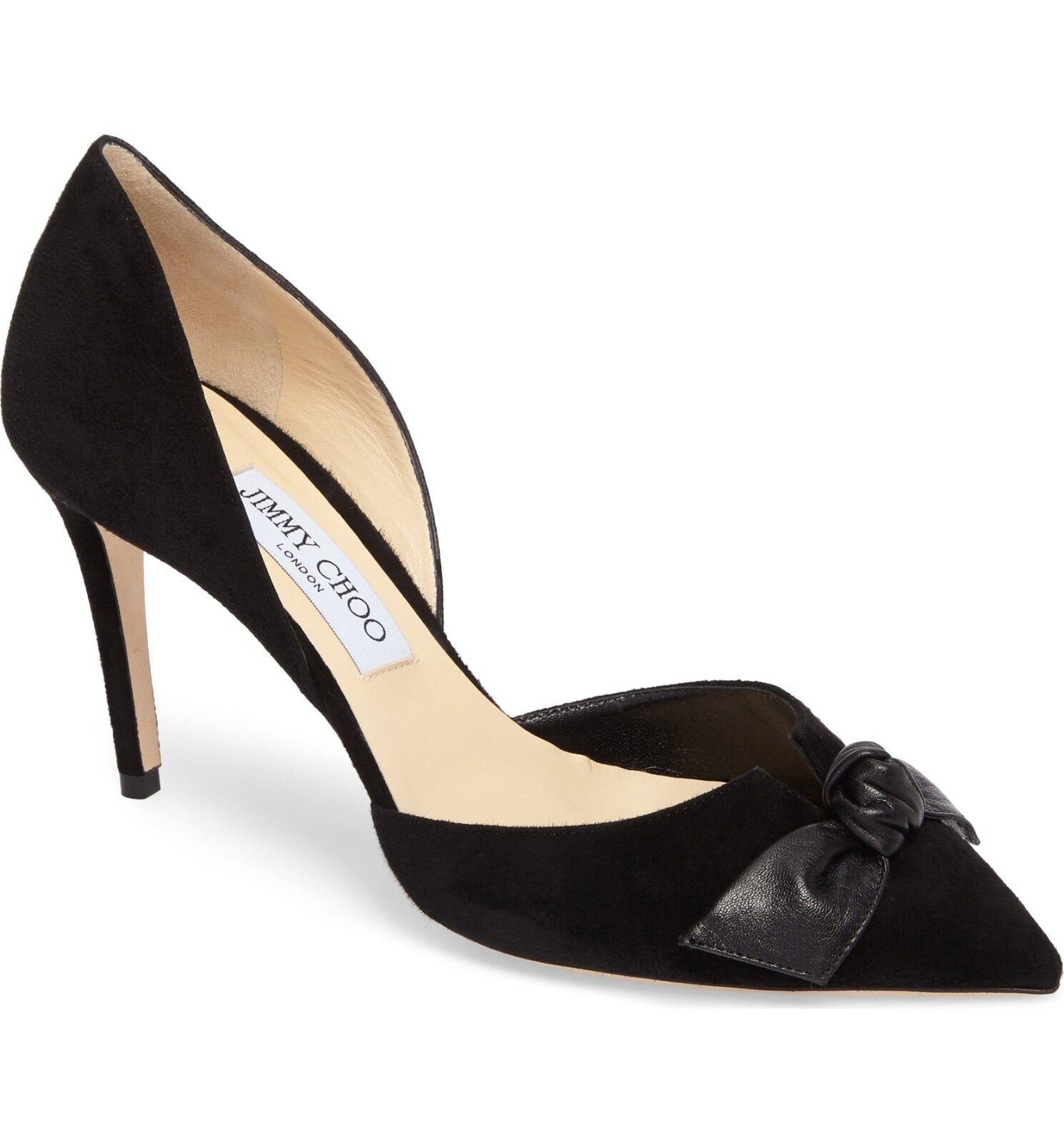 NIB Jimmy Choo Twinkle Knotted Bow Pointed Toe Pump Pump Pump Heel shoes Black Suede 39-8.5 1e57b3