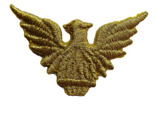 Eagle Gold Metallic Emblem Embroidered Iron On Patch Applique 2.25 Inches