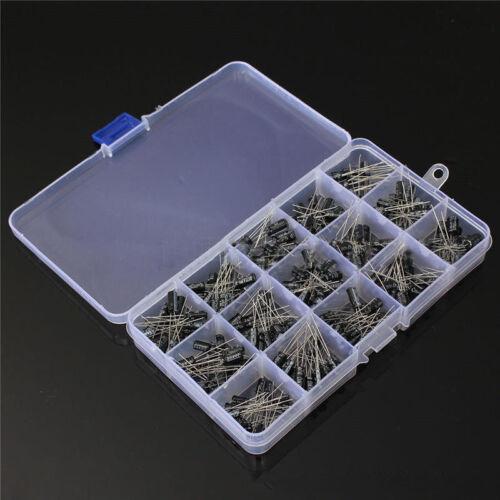 200Pcs 15 Value 0.1-220uF Electrolytic Capacitor Storage Assortment Kit Set Box