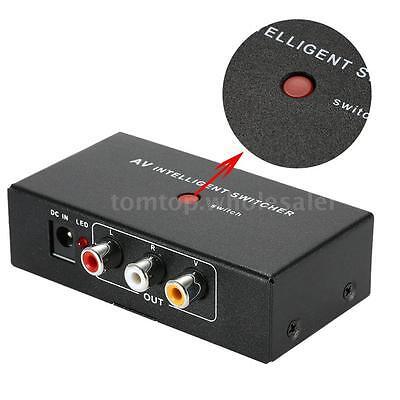 AV Intelligent 2 to 1 Channel RCA Audio Video Switcher Auto/Manual Control P4U1