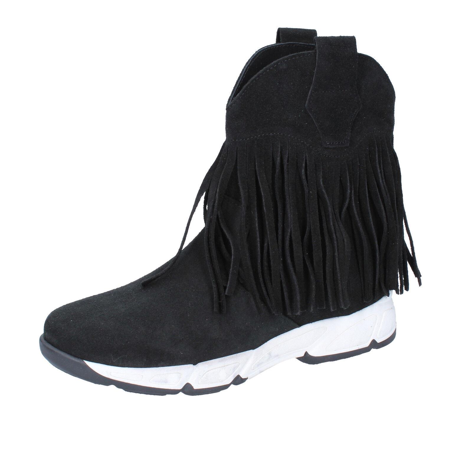 Para mujeres Zapatos Olga Rubini 10 () botas al Tobillo Gamuza Negra BX784-40