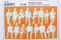 Preiser 1:32 Scale 15 Unpainted Seated Passenger Figure Kit 63001