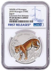 2018-Nicaragua-Wildlife-Jaguar-1-oz-Silver-Colorized-Coin-NGC-PF69-FR-SKU53802