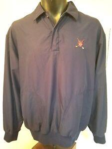 Ralph-Lauren-Polo-Pullover-Jacket-Mens-Sz-M-Quarter-Button-Golf-Long-Sleeve-Blue
