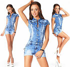 Sexy Women's Denim Light Blue Jeans Hot Pants Playsuit Jumpsuit Overall F 593