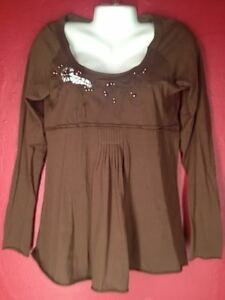 ROXANNE HEPTNER Pea in the Pod brown long sleeve maternity top shirt womens sz M