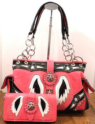 Montana West Angel Wings & Stars Handbag Purse with matching wallet