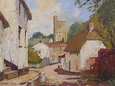 Marcus Holley Ford Landscape Oil Painting - Dunsford Village Devon (Dartmoor)