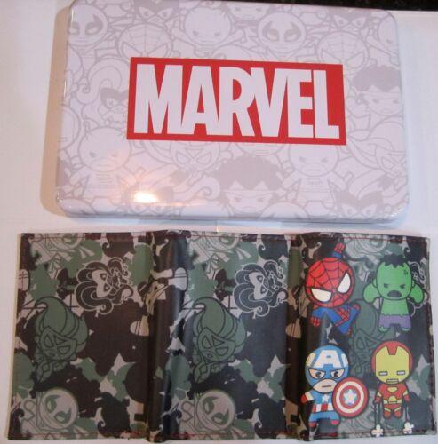Kawaii Spider-Man Hulk Iron Man Tri-Fold Wallet Collector Tin /& Patch New 0059