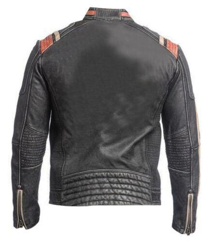 Pelle Giacca Rétro Racer Da Uomo Di Biker Vintage 3 qnwf4Sz88