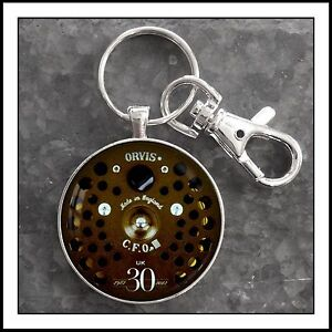 Vintage-Orvis-fly-fishing-reel-photo-keychain-key-chain-Gift-Charm-Pull