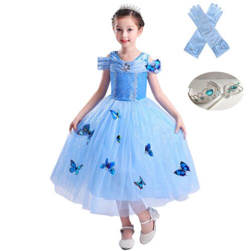 Kid Girl Princess Cinderella Cosplay Costume Butterfly Dress Halloween Xmas