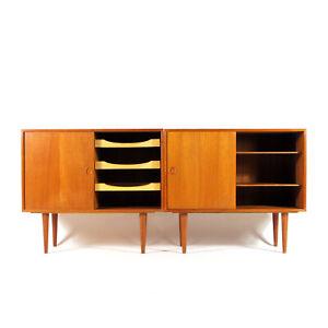 1-of-2-Retro-Vintage-Danish-Kai-Kristiansen-Teak-Sideboard-Cabinet-Mid-Century