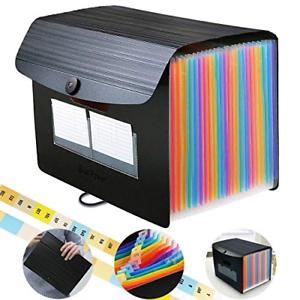 Accordian File Organizer 24 Pockets Expanding File Folders Rainbow Plastic Fi...