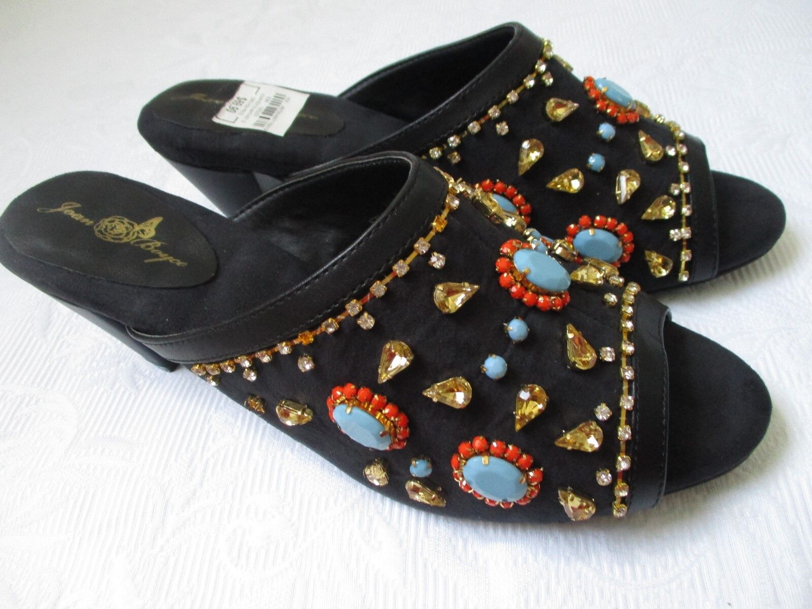JOAN EMBELLISHED BOYCE WHITNEY BLACK EMBELLISHED JOAN OPEN TOE SLIDES Schuhe SIZE 9 1/2 M - NEW 8a6b10