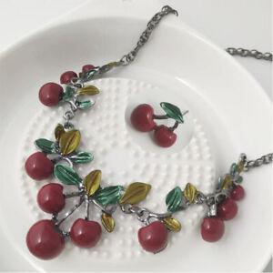 Johnson-Betsey-Necklace-Chain-Fashion-Gift-Cherry-Bib-Women-039-s-Red-Resin-Pendant