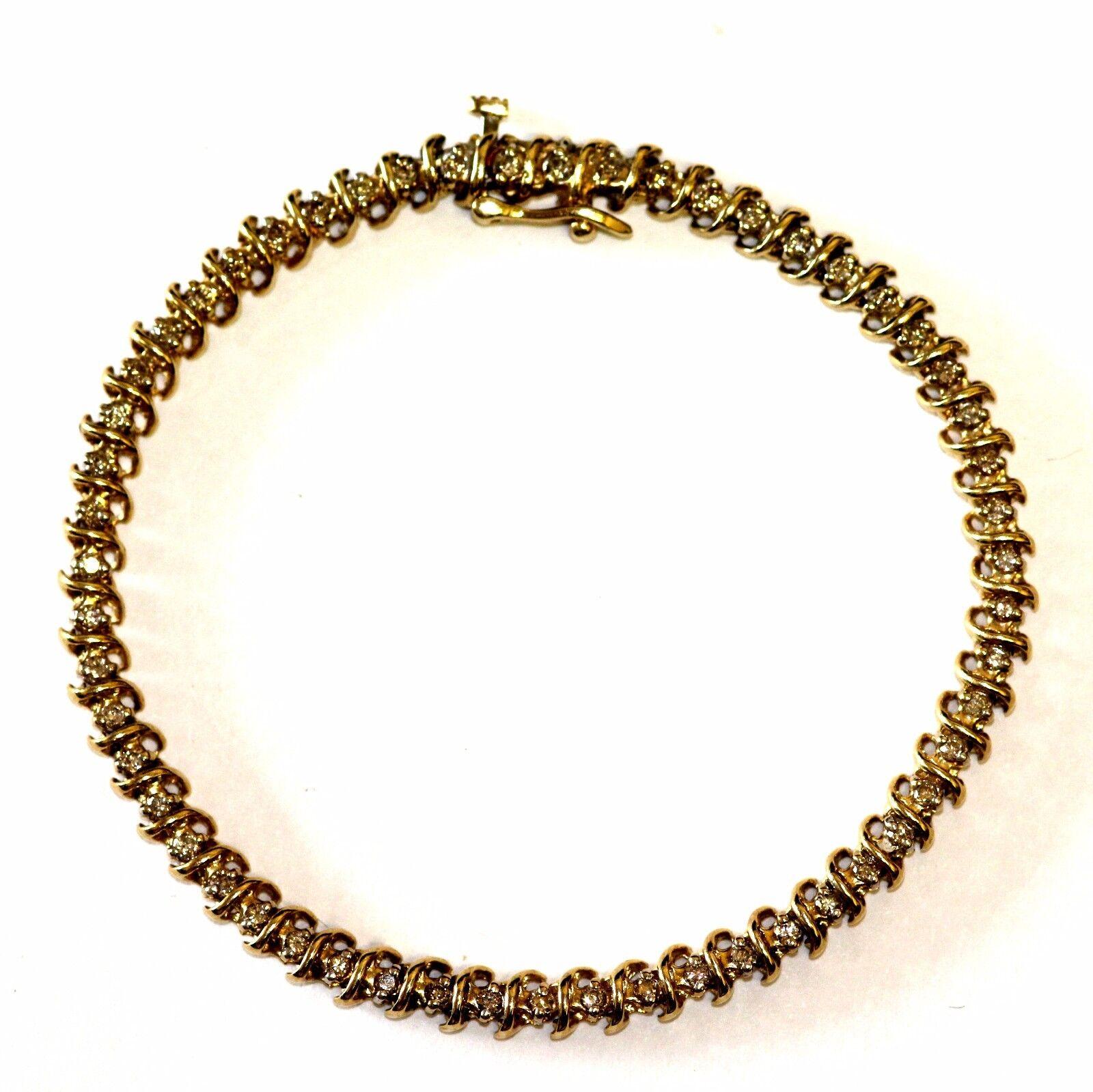 14k yellow gold .82cttw SI2 J diamond tennis bracelet 9.9g vintage estate 7.25