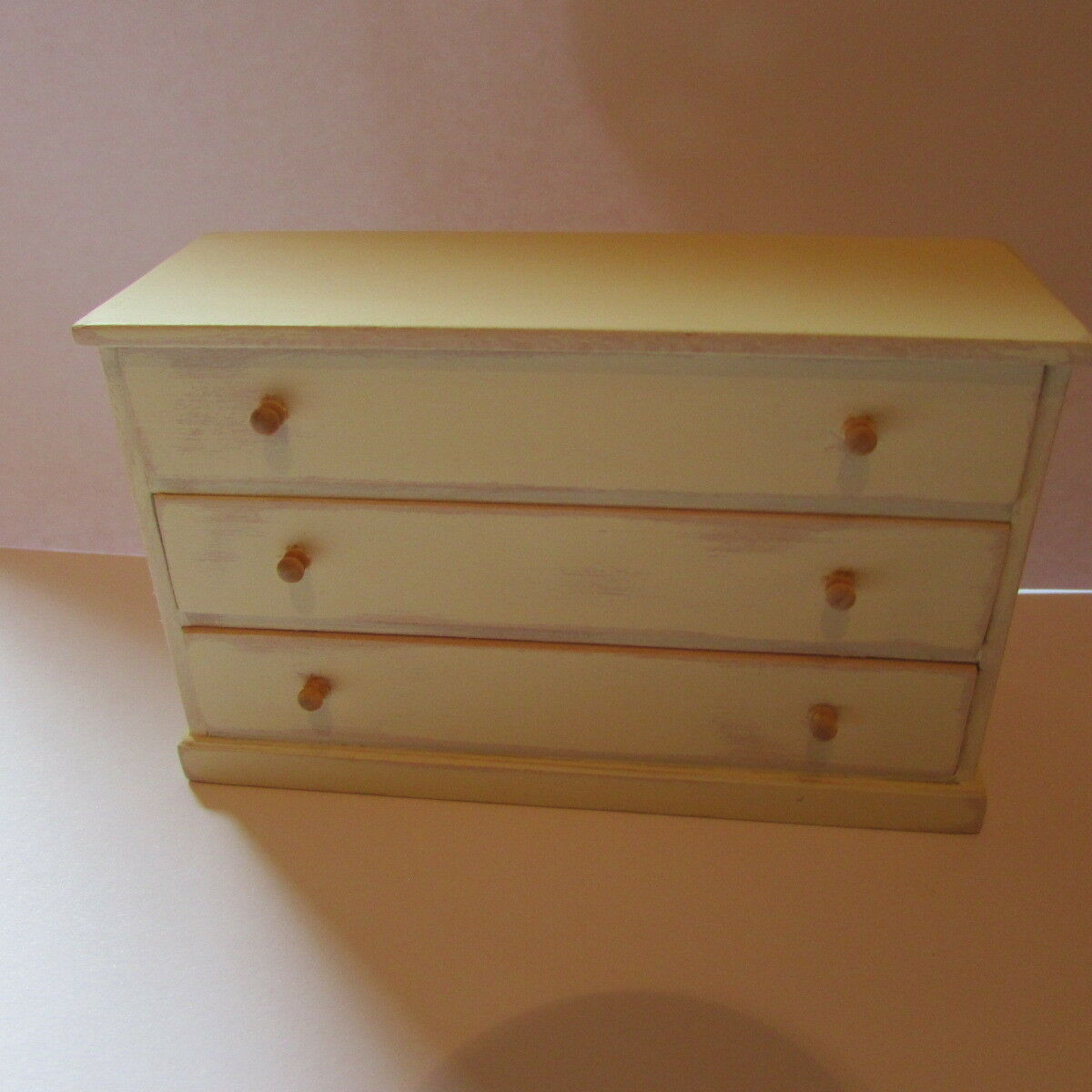 Dollhouse miniature chest of drawers hand painted cream in distressed style1 12