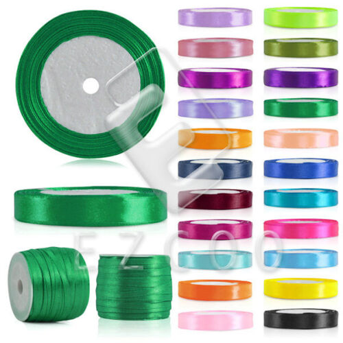"25 50 Yards a Roll Satin Ribbon 1//8/""1//4/"" 3//8/"" 5//8/"" 3//4/"" 1/"" 3//2/"" 2/"" Wholesale DIY"