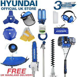 Hyundai Petrol Garden MULTI TOOL 5 in 1 Function Hedge Trimmer Saw Strimmer 52cc