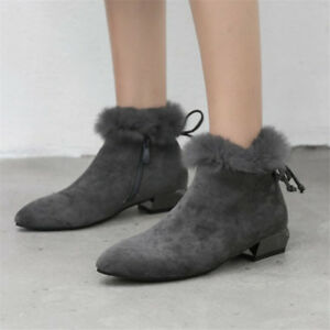 Womes-Ankle-Boots-Casual-Suede-Shoes-Pointed-Toe-Faux-Fur-Chunky-Heels-Side-Zip