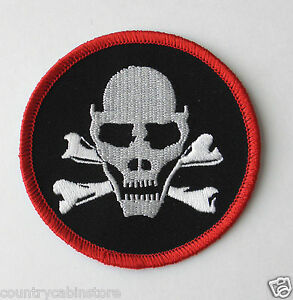 c50b3e4912350 Skull   Cross Bones Death Head Biker Round Embroidered Patch 3 ...