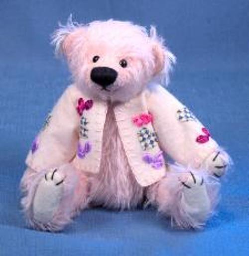 DEB CANHAM ARTIST DESIGNED BIGGER BEARS  COLUMBINE  rosadodo BEAR W SWEATER