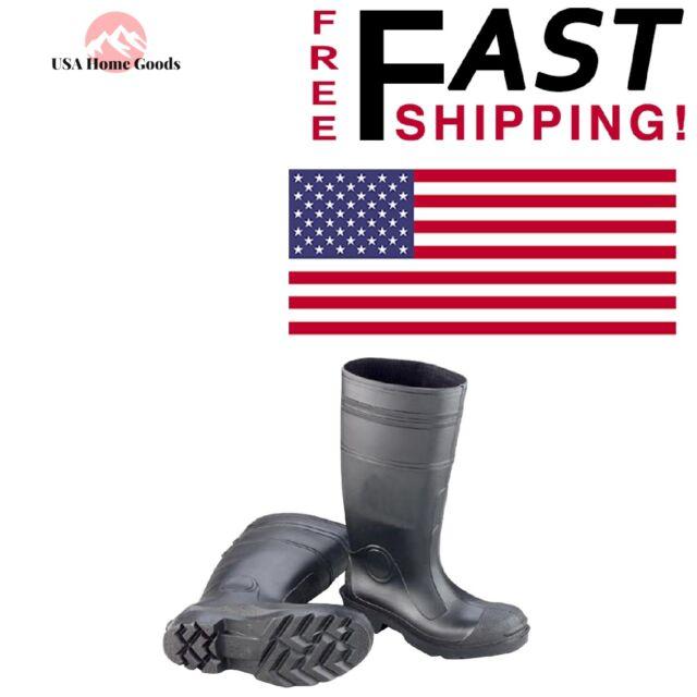 793f1f86d00 Black Men's Size 13 Plain Toe Rain BOOTS PVC Non-slip Rubber Waterproof  Gumboots