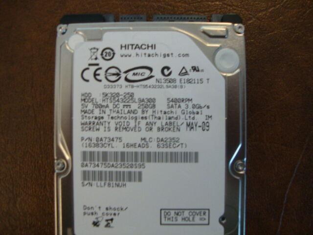 """Hitachi HTS543225L9SA00 MLC:DA2352 PN:0A73475 250gb 2.5"""" Sata Hard Drive"""