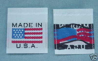 MADE IN USA  AMERICAN FLAG 500 PCS WOVEN CLOTHING LABELS CARE LABEL WHITE