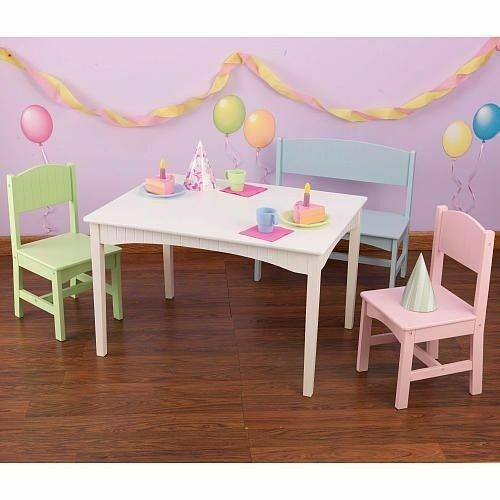 Nantucket Pastel Table With Bench And 2 Chairs Kidkraft
