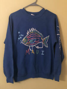 Maui-Hawaii-Travel-Fish-Vintage-1980s-Blue-Crewneck-Sweatshirt-Size-Large