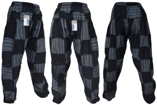 Men/'s Cotton Stonewashed Patchwork Elastic Genie Casual Pants Hippie Trousers