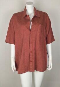 FLAX-Women-s-Button-Down-Shirt-100-Linen-Top-Oversized-Small-Rust-Short-Sleeve