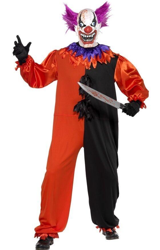 Herren Serienmörder Clown Zirkus Unheimlich Halloween Kostüm Kleid Outfit S-XL | Exquisite Handwerkskunst
