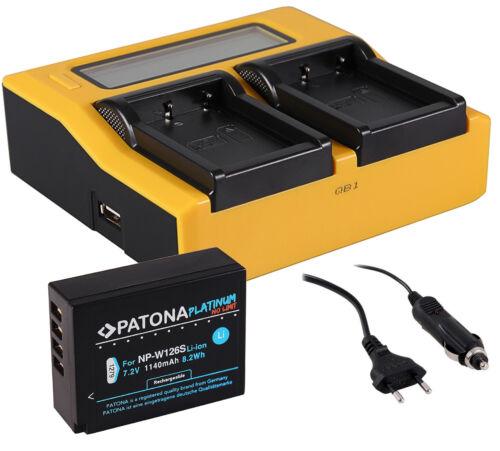LCD DUAL Ladegerät Akku NP-W126S für Fuji VPB-XT2 Power Booster Handgrif