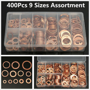 400 Pcs Car 9 Size Copper Washers Flat Ring Sump Plug Oil Seal Gasket Universal