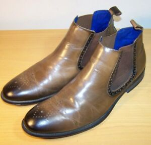 4c94fee4801 Details about Steve Madden TRIVEA Brown Leather Ankle Boots Pull Slip On  Shoes Men's Sz 11.5
