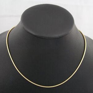 vergoldete-polierte-Edelstahl-Schlangenkette-42-cm-1-9-mm-Kette-Halskette-neu