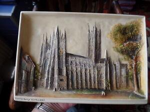 Vintage-Larger-Osborne-Ivorex-Plaque-Canterbury-Cathedral-11-039-039-by-7-75-039-039
